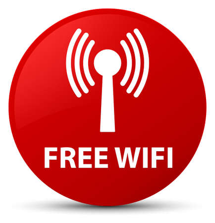 Free wifi (wlan network) isolated on red round button abstract illustration