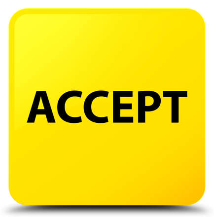 Accept isolated on yellow square button abstract illustration Stock Photo