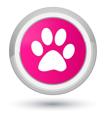 Animal footprint icon isolated on prime pink round button abstract illustration Stock Photo