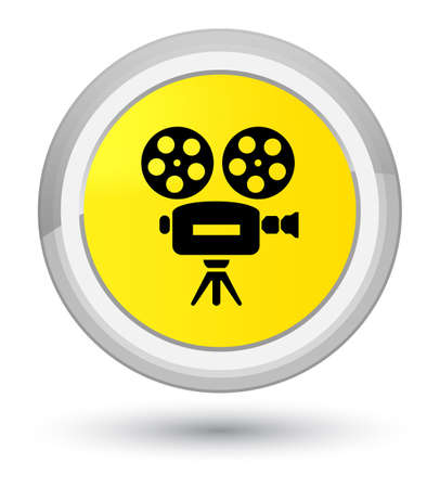 Video camera icon isolated on prime yellow round button abstract illustration Stock Photo