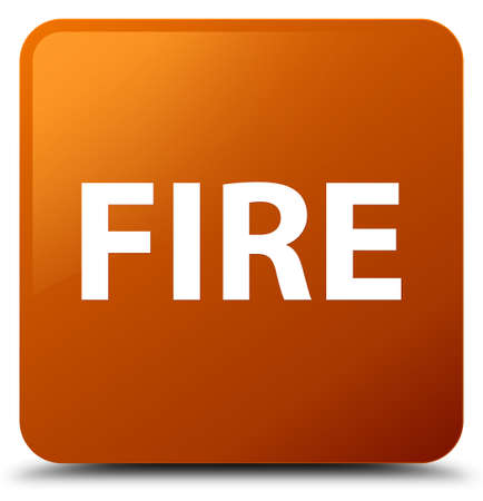 Fire isolated on brown square button abstract illustration