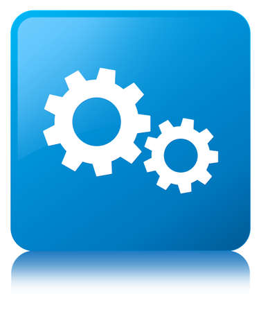 Process icon isolated on cyan blue square button reflected abstract illustration