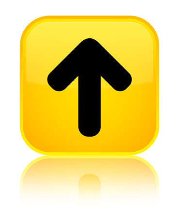 Upload arrow icon isolated on special yellow square button reflected abstract illustration