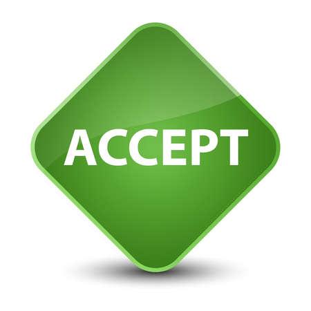 Accept isolated on elegant soft green diamond button abstract illustration Stock Photo