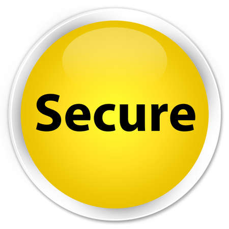privacy: Secure isolated on premium yellow round button abstract illustration