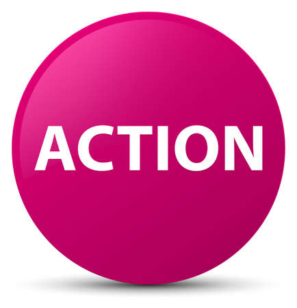 Action isolated on pink round button abstract illustration