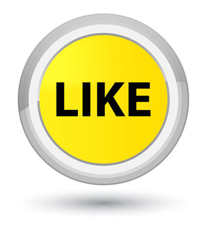 Like isolated on prime yellow round button abstract illustration Stock Photo