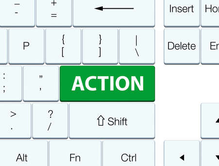 Action isolated on green keyboard button abstract illustration