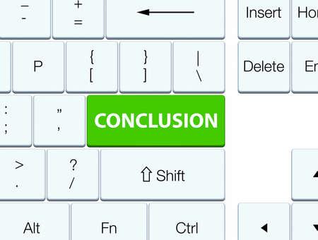 Conclusie op de zachte groene abstracte illustratie die van de toetsenbordknoop wordt geïsoleerd