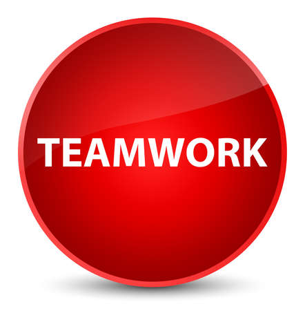 Teamwork isolated on elegant red round button abstract illustration