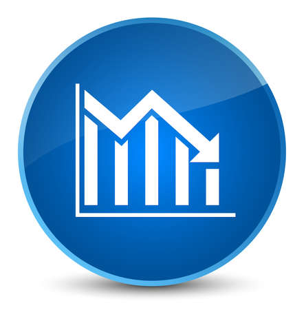 Statistics down icon isolated on elegant blue round button abstract illustration