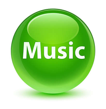 voices: Music isolated on glassy green round button abstract illustration