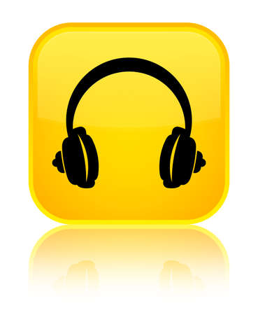 Headphone icon isolated on special yellow square button reflected abstract illustration