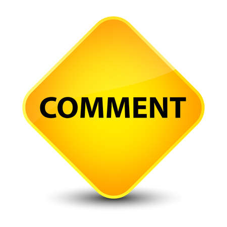 Comment isolated on elegant yellow diamond button abstract illustration Stock Photo