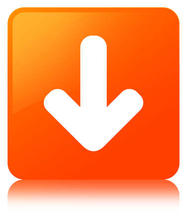 Download arrow icon isolated on orange square button reflected abstract illustration Stock Photo