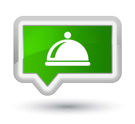 prime: Food dish icon isolated on prime green banner button abstract illustration