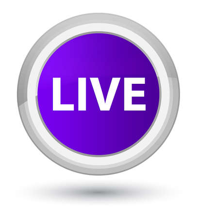 Live isolated on prime purple round button abstract illustration