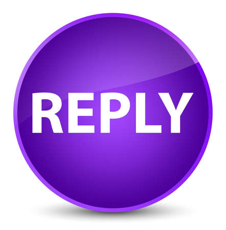 Reply isolated on elegant purple round button abstract illustration