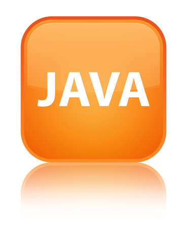 Java isolated on special orange square button reflected abstract illustration