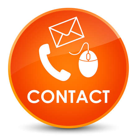 Contact (phone email and mouse icon) orange isolated on elegant round button abstract illustration