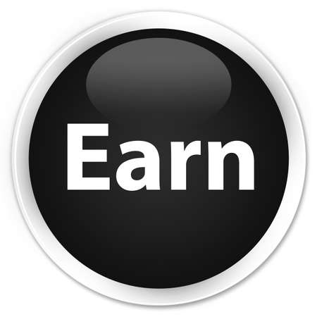 Earn isolated on premium black round button abstract illustration