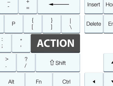 Action isolated on black keyboard button abstract illustration Stok Fotoğraf - 89117983