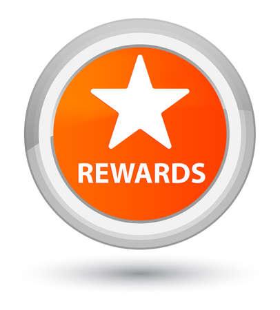 Rewards (star icon) isolated on prime orange round button abstract illustration