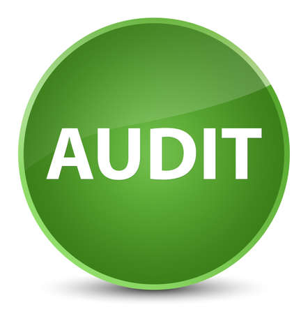 Audit isolated on elegant soft green round button abstract illustration Stock Photo