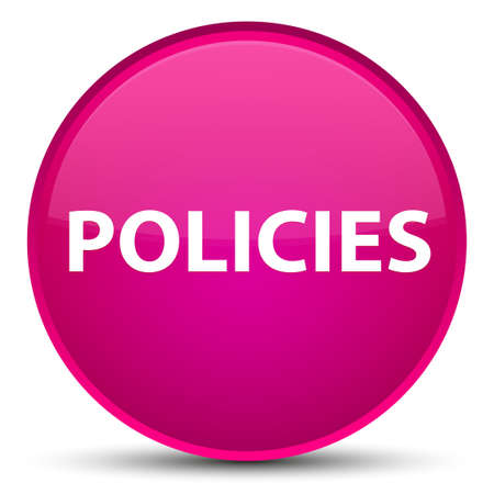 Policies isolated on special pink round button abstract illustration