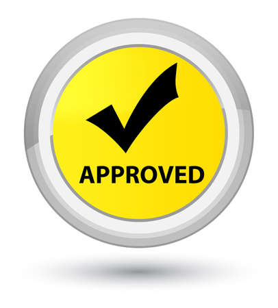 Approved (validate icon) isolated on prime yellow round button abstract illustration