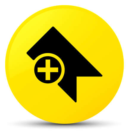 Bookmark icon isolated on yellow round button abstract illustration