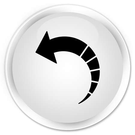Back arrow icon isolated on premium white round button abstract illustration