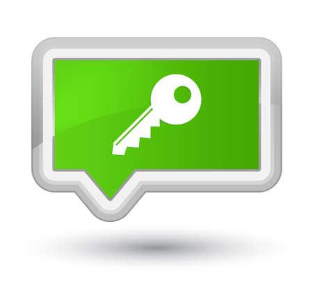 プライムソフトグリーンバナーボタンの抽象イラストに分離されたキーアイコン