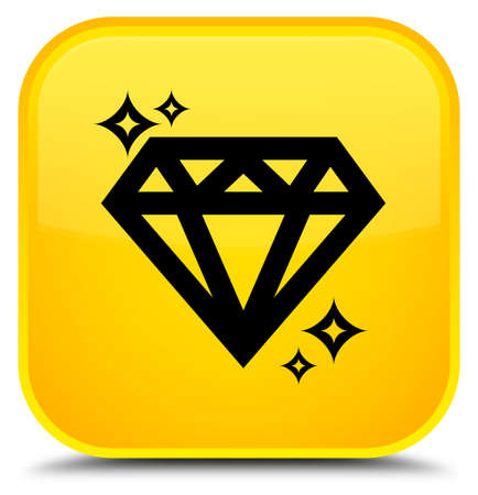 Diamond icon isolated on special yellow square button abstract illustration
