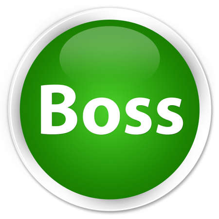 Boss isolated on premium green round button abstract illustration
