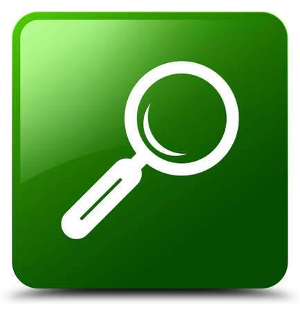 Magnifying glass icon isolated on green square button abstract illustration Stock Photo