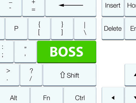 Boss isolated on soft green keyboard button abstract illustration Фото со стока