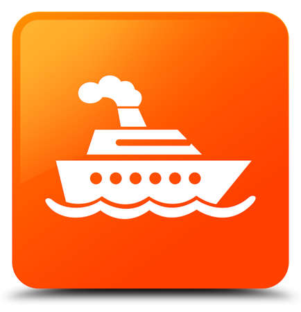 Cruise ship icon isolated on orange square button abstract illustration