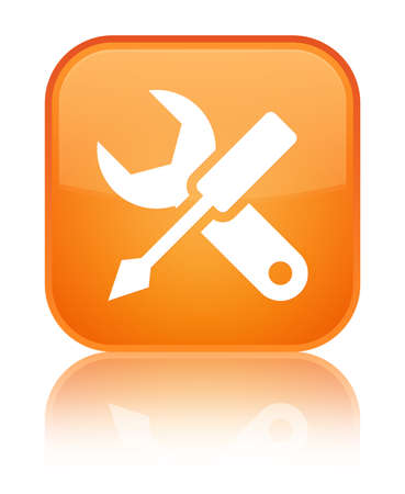 Settings icon isolated on special orange square button reflected abstract illustration