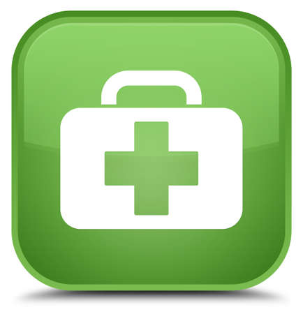 Medical bag icon isolated on special soft green square button abstract illustration