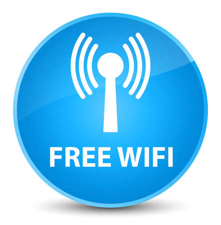 Free wifi (wlan network) isolated on elegant cyan blue round button abstract illustration Stock Photo