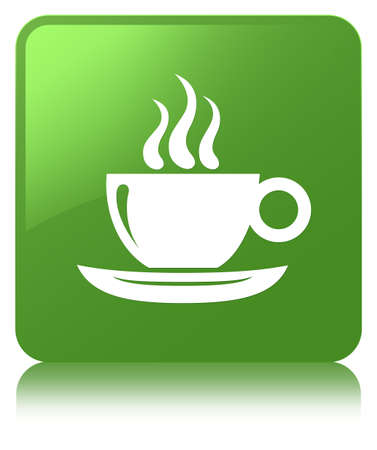 Coffee cup icon isolated on soft green square button reflected abstract illustration Stock Photo