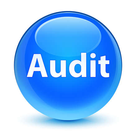 Audit isolated on glassy cyan blue round button abstract illustration