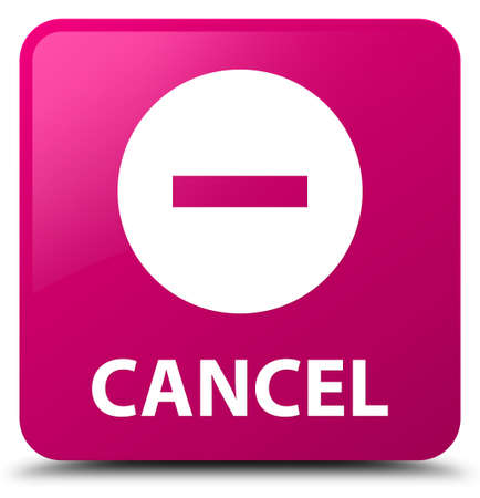 Cancel isolated on pink square button abstract illustration Stock Photo