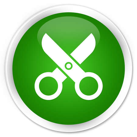 Scissors icon isolated on premium green round button abstract illustration Stock Photo