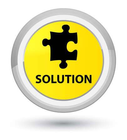 Solution (puzzle icon) isolated on prime yellow round button abstract illustration Stock Photo