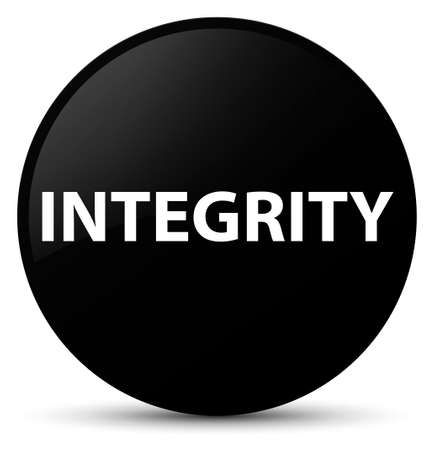 Integrity isolated on black round button abstract illustration
