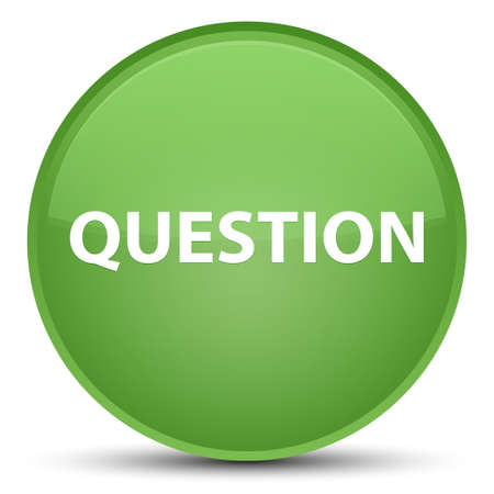 Question isolated on special soft green round button abstract illustration