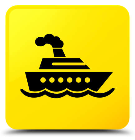Cruise ship icon isolated on yellow square button abstract illustration Stock Photo