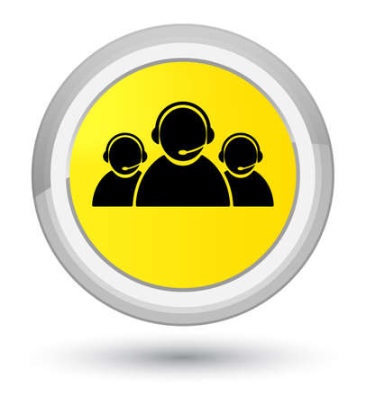 Customer care team icon isolated on prime yellow round button abstract illustration